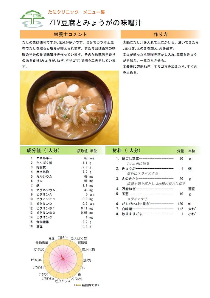 ZTV豆腐とみょうがの味噌汁